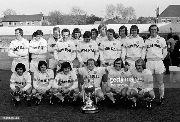 First Division League champions Leeds United at Elland Road Leeds on 6th May 1974 Back row left to right Paul Madeley Eddie Gray David Stewart Paul...