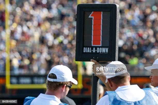 First down marker during a college football game between the Vanderbilt Commodores and the Alabama AM Bulldogs on September 9 2017 at Commodore...