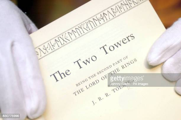 A first edition of The Two Towers the second part of JRR Tolkien's The Lord of the Rings trilogy is displayed inside the British Library in north...
