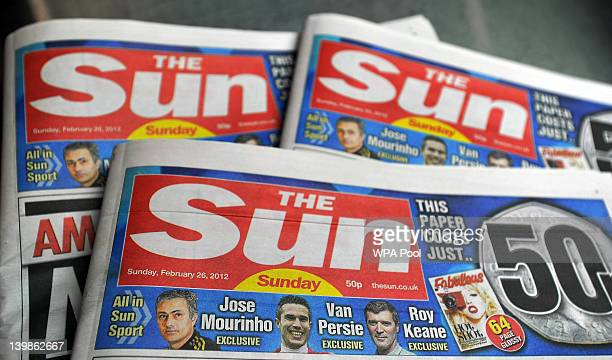 First editions of 'The Sun On Sunday' newspapers are displayed after coming off the presses on February 25 2012 in Broxbourne England Around 3...