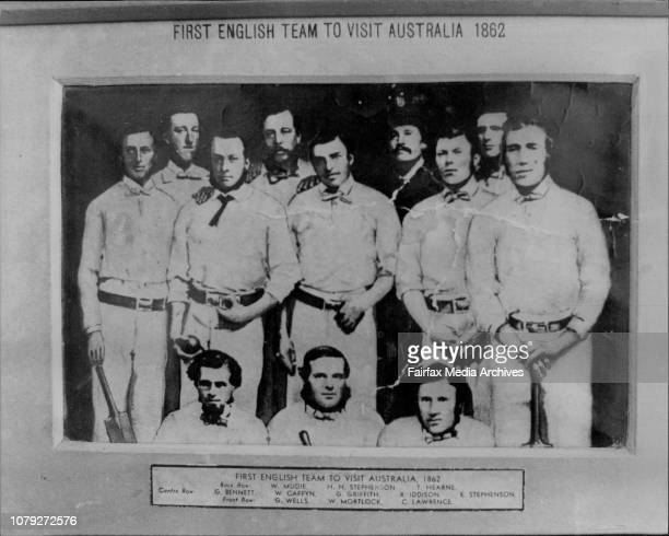 First English Team To Visit Australia 1862 Back Row W Mudie HH Stephenson T HearneCentre Row G Bennett W Caffyn G Griffith R Iddison E...