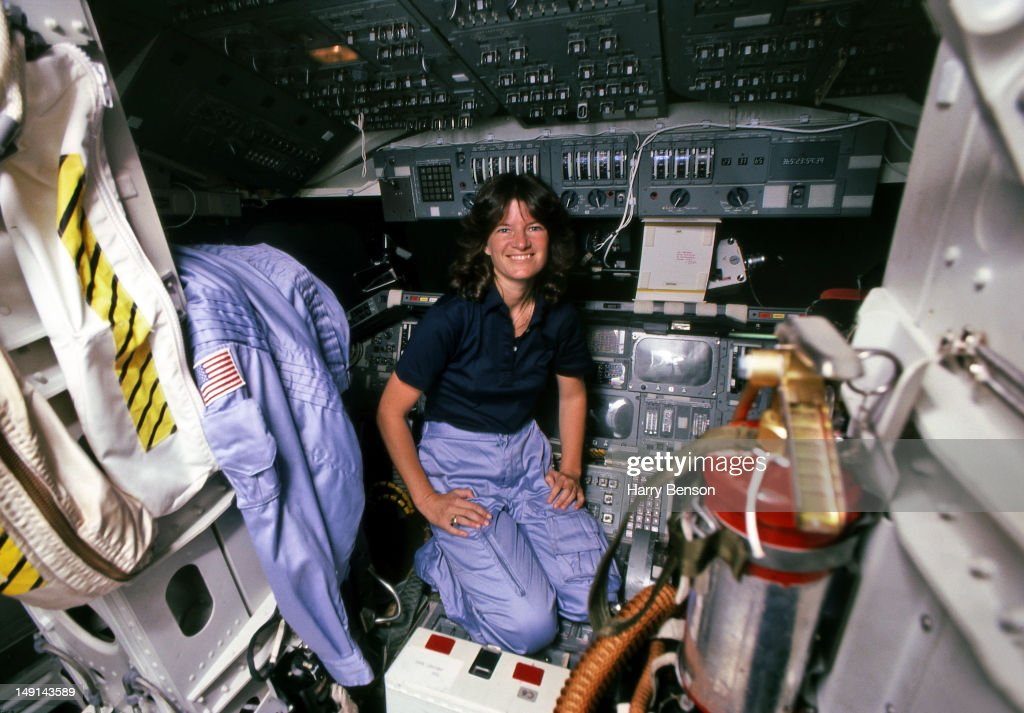 First female astronaut in space, Sally Ride is photographed for American Geo Magazine in 1983 in the cockpit of a space shuttle at the Johnson Space Center in Houston, Texas.