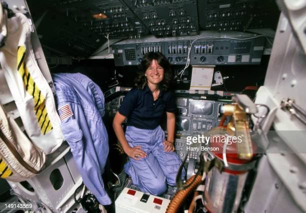 First female astronaut in space Sally Ride is photographed for American Geo Magazine in 1983 in the cockpit of a space shuttle at the Johnson Space...