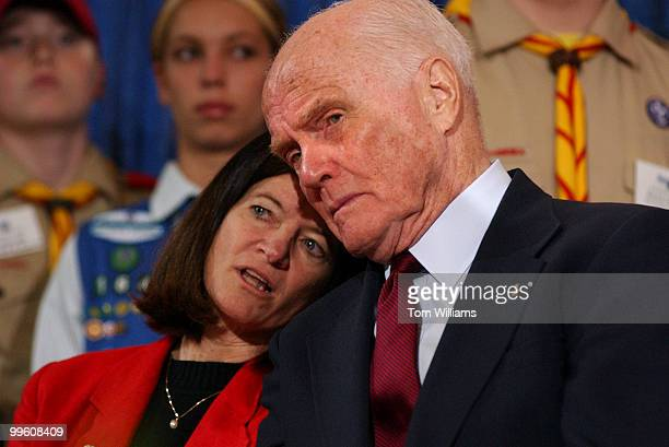First female astronaut Sally Ride and former Senator John Glenn DOhio share a word during Space Day at the Smithsonian's National Air and Space...