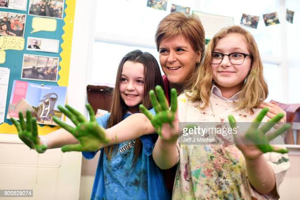 First First Minister Nicola Sturgeon meets school children Erin Clark and Charlie McGregor during a visit to Levenvale Primary School on February 19...
