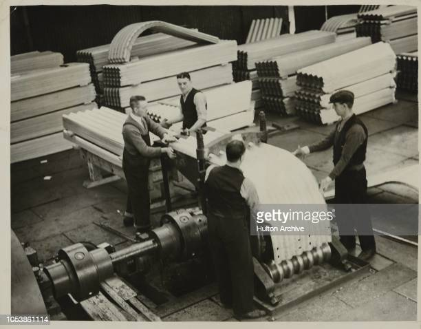 First Free A.R.P. Shelters For London, The first of the Sir John Anderson steel A.R.P. Shelters which are to be freely distributed to the public,...