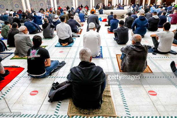 First friday prayer at the Paris Great Mosque after COVID-19 lockdown. Paris. France.