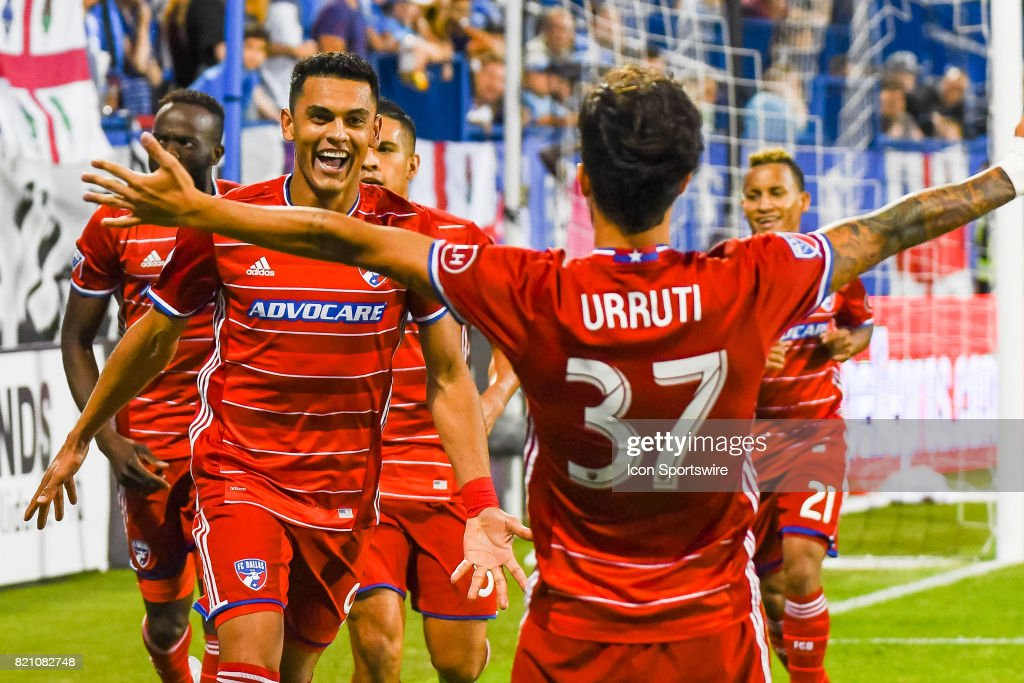 First goal celebration by FC Dallas players, goal scored by FC Dallas forward Cristian Colman (9) his first of the season making the score 1-1 during the FC Dallas versus the Montreal Impact game on July 22, 2017, at Stade Saputo in Montreal, QC