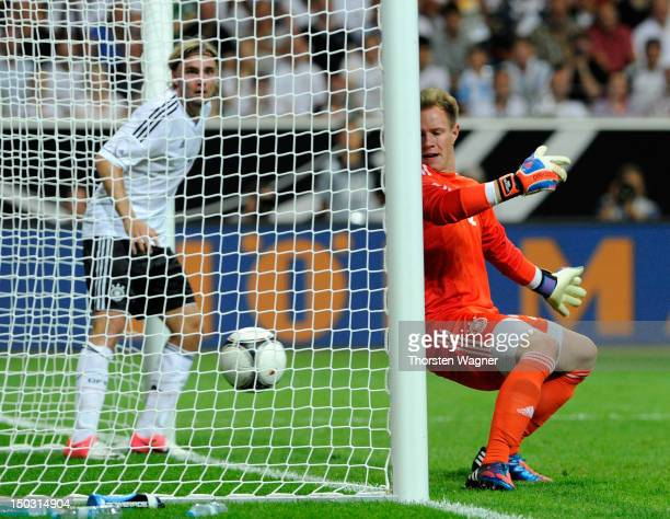 First goal for Argentina after a own goal from Sami Khedira during the international friendly match between Germany and Argentina at...