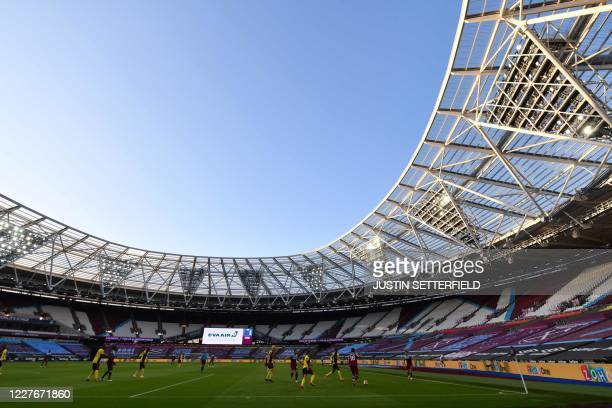 First half action inside the empty stadium during the English Premier League football match between West Ham United and Watford at The London Stadium...