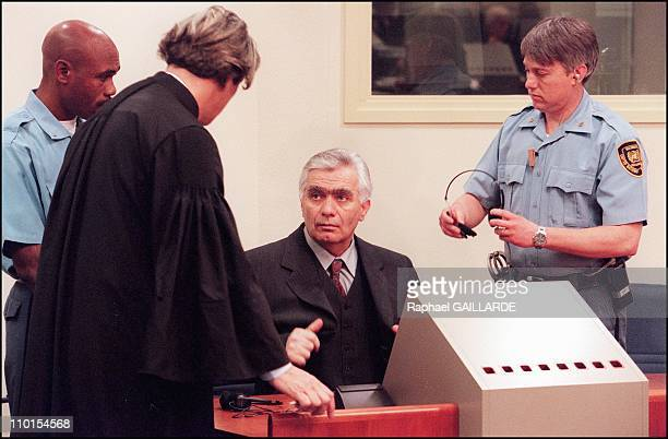 First hearing of Momcilo Krajisnik before the international criminal tribunal for the former Yugoslavia In The Hague, Netherlands on April 07, 2000.