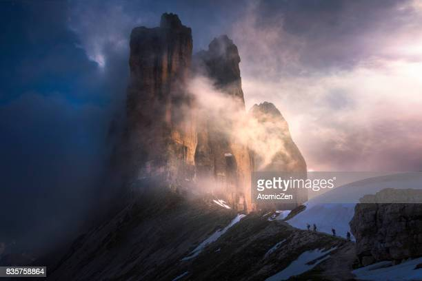 first impression with tre cime, italy - dolomites stock pictures, royalty-free photos & images