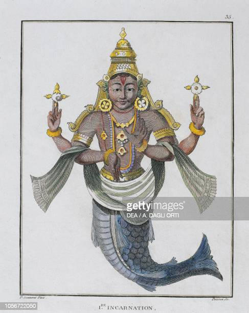 First incarnation of Vishnu as a fish coloured engraving by Poisson from a drawing by Pierre Sonnerat from Voyage aux Indes orientales et a la Chine...