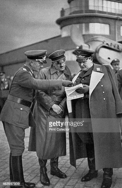 First inspection of the Luftwaffe's Richthofen Squadron Germany 1936 Adolf Hitler and Luftwaffe commander Hermann Goering inspecting the squadron...