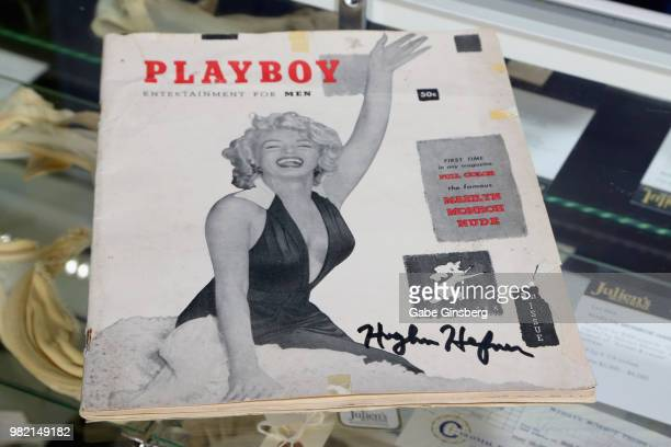 First issue Playboy Magazine, with Marilyn Monroe on the cover and signed by Hugh Hefner is displayed during a preview for Julien's Auctions...