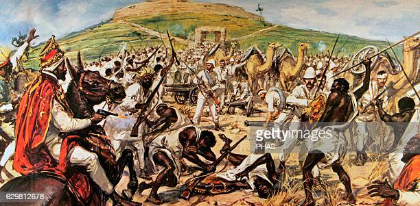 First ItaloEthiopian War Conflict between Italy and Ethiopia 18951896 Ras Makonnen fighting Italian troops during the siege of Mekele 1896 Drawing by...