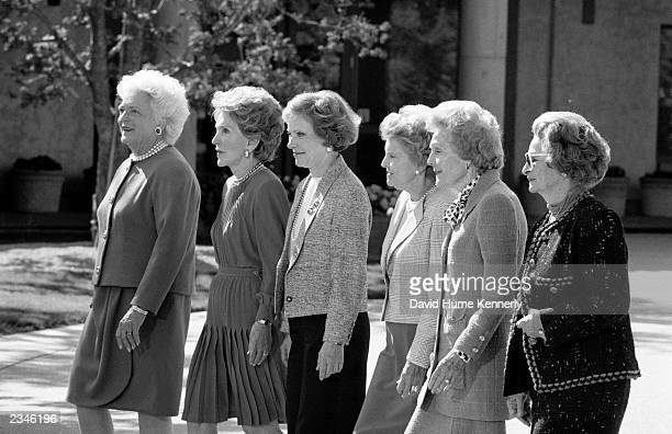US First Ladies Barbara Bush Nancy Reagan Rosalynn Carter Betty Ford Pat Nixon and Lady Bird Johnson attend former President Ronald Reagan's Library...