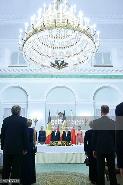 First Lady Agata KornhauserDuda and King Philippe of Belgium and Polish President Andrzej Duda and Queen Mathilde of Belgium while official dinner at...