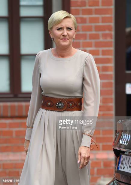 First Lady Agata Kornhauser-Duda arrives at the Warsaw Rising Museum during an official visit of Catherine, Duchess of Cambridge and Prince William;...