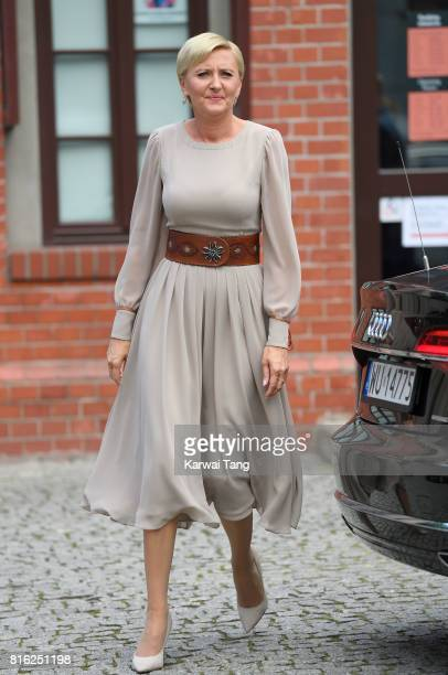 First Lady Agata KornhauserDuda arrives at the Warsaw Rising Museum during an official visit of Catherine Duchess of Cambridge and Prince William...
