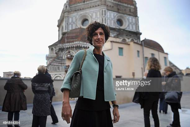 First Lady Agnese Renzi wife of Italian Prime Minister Matteo Renzi attends the opening of the New Museo dell'Opera del Duomo on October 29, 2015 in...