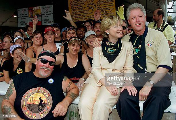 First Lady and Senatorial candidate fopr New York Hillary Rodham Clinton with President Bill Clinton pose for photos with the workers at Gianelli's...
