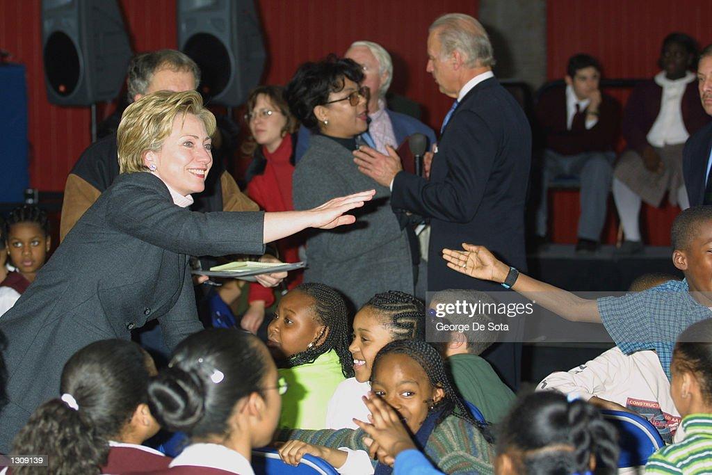 First Lady and U S  Senator-elect Hillary Rodham Clinton greets