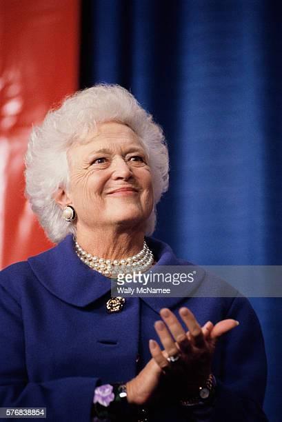 First Lady Barbara Bush Applauding