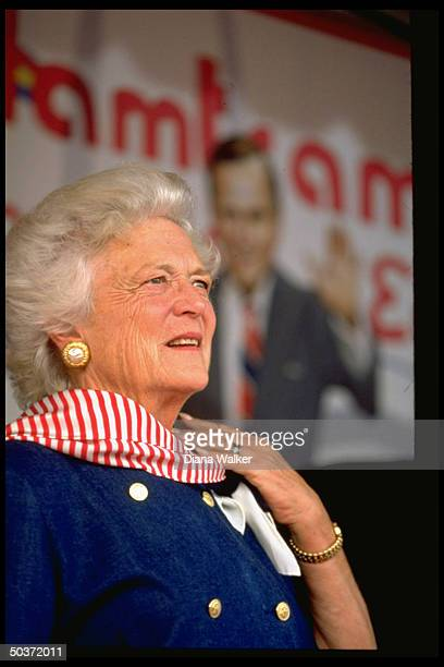 First Lady Barbara Bush attending campaign event