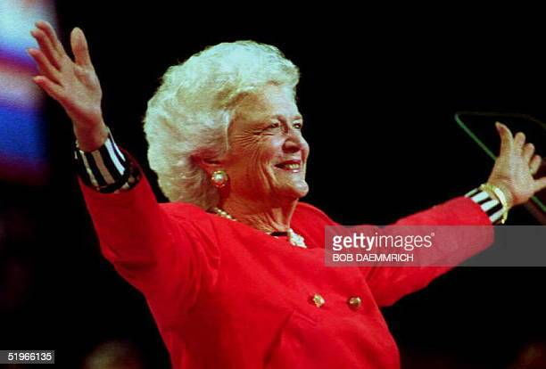 First Lady Barbara Bush greets the delegates attending the 1992 Republican Convention before beginning her 19 August 1992 speech The First Lady said...