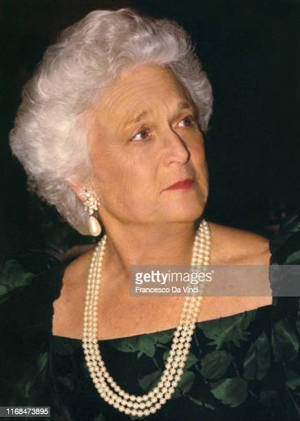 First Lady Barbara Bush poses for a portrait at the Waldorf Astoria Hotel circa 1995 in New York City, New York.