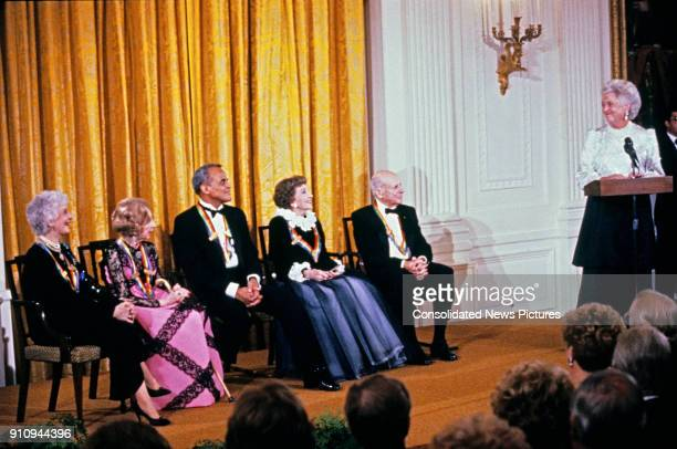 US First Lady Barbara Bush speaks during a ceremony for 1989 Kennedy Center Honorees in the White House's East Room Washington DC December 3 1989...