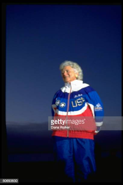 First Lady Barbara Bush sporting personalized USA Olympic team warmup suit out for early morning walk on Mackinac Bridge while on campaign trail w...