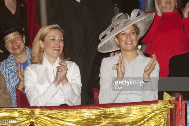 First Lady Bettina Wulff and Princess Maxima of the Netherlands attend a performance of the Circus Mondeo on April 13 2011 in Berlin Germany The...