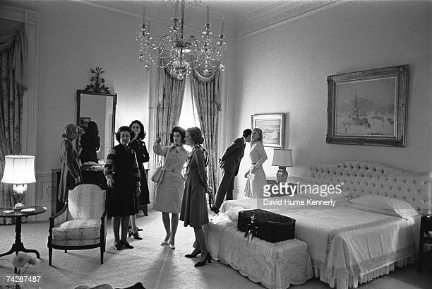 First Lady Betty Ford and daughter Susan Ford give a tour of the second floor President's bedroom to Luci Johnson Nugent Lady Bird Johnson her...