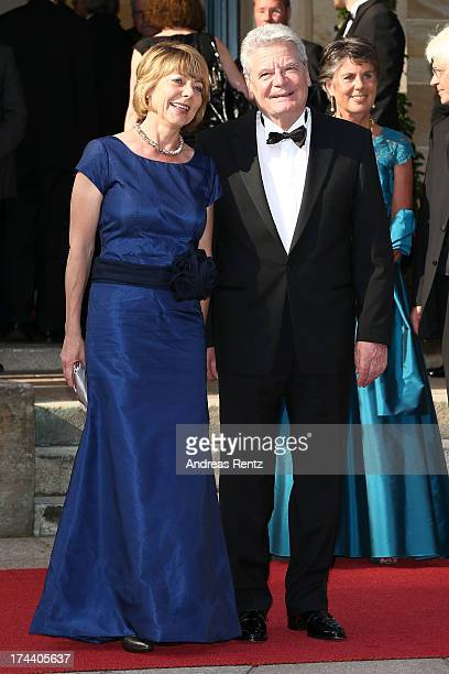 First Lady Daniela Schadt and German President Joachim Gauck attend Bayreuth Festival Opening 2013 on July 25, 2013 in Bayreuth, Germany.