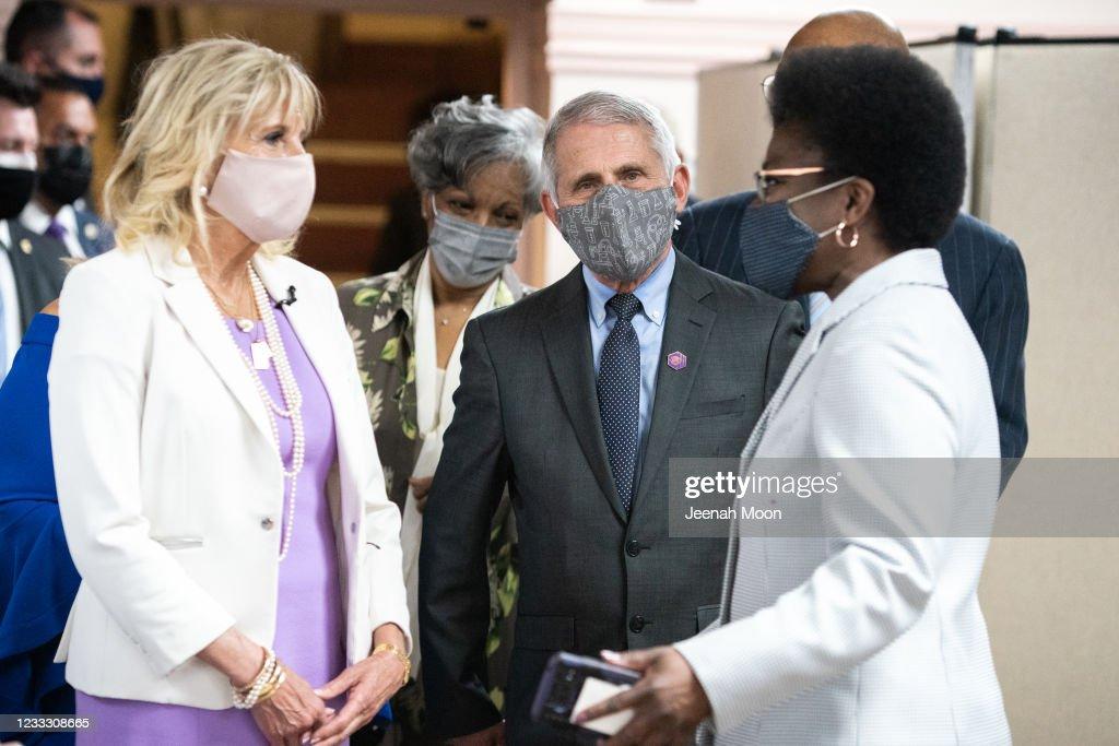 Dr. Jill Biden And Dr. Anthony Fauci Visit Vaccination Clinic At Harlem Church : News Photo