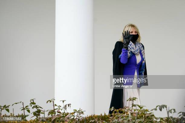 First lady Dr. Jill Biden he walks back to the White House residence after watching her husband President Joe Biden depart on Marine One on January...