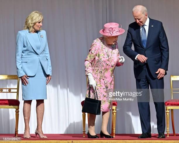 First Lady Dr Jill Biden, Queen Elizabeth II and U.S. President Joe Biden attend the president's ceremonial welcome at Windsor Castle on June 13,...