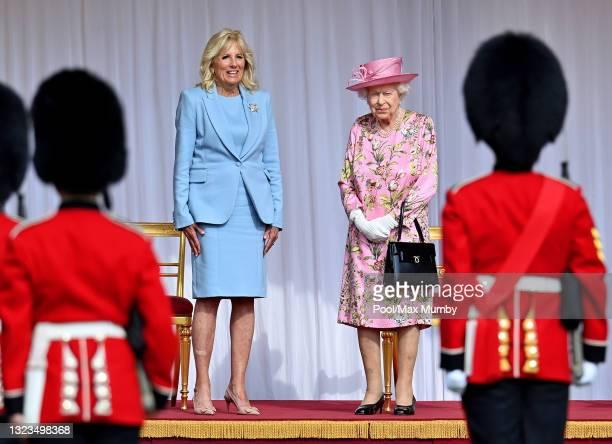 First Lady Dr Jill Biden talks with Queen Elizabeth II during her and U.S. President Joe Biden's ceremonial welcome at Windsor Castle on June 13,...