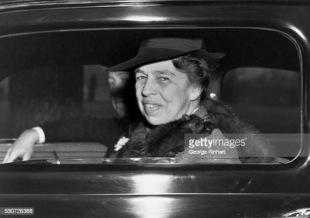 First Lady Eleanor Roosevelt arrives in a car at a Washington DC jail She will be inspecting the facility which has been criticized as overcrowded...