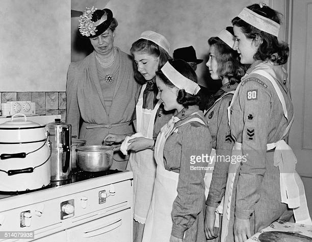First Lady Eleanor Roosevelt honorary President of the Girl Scouts National Little House in Washington DC attends a luncheon in her honor on April 30...
