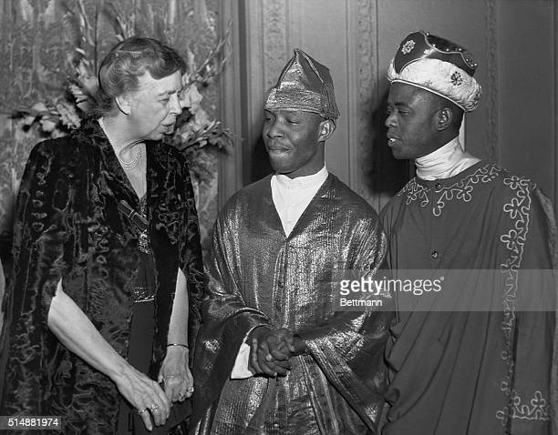 First Lady Eleanor Roosevelt, sponsor and guest of honor of the African Dance Festival, held Monday evening at Carnegie Hall, was photographed during...