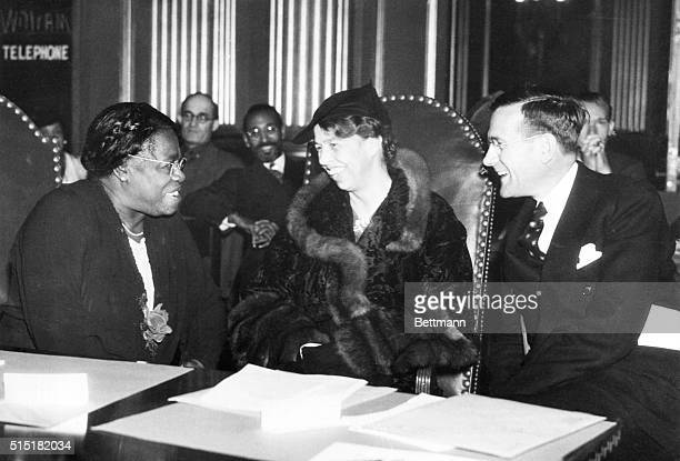 First Lady Eleanor Roosevelt with Aubrey Williams Executive Director of the National Youth Administration and Mrs Mary Bethune NYA Director of Negro...