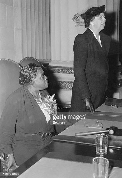 First Lady Eleanor Roosevelt with Mary McLeod Bethune National Youth Administration Director of Negro Activities at the opening session of the...