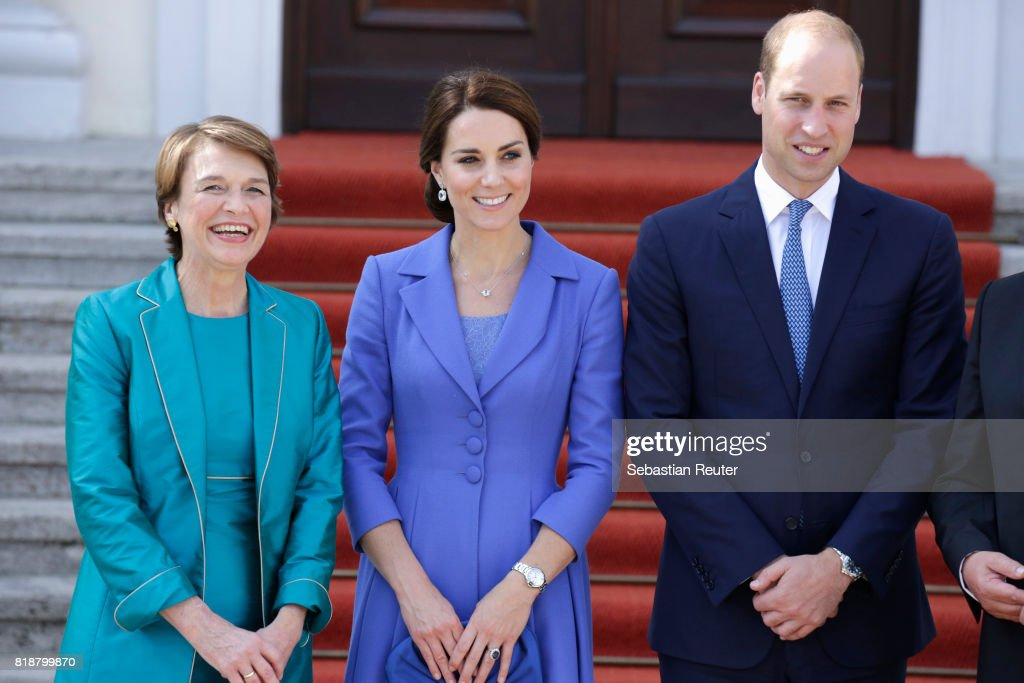 First Lady Elke Buedenbender (L) greets Catherine, Duchess of Cambridge and Prince William, Duke of Cambridge as they arrive at Bellevue Castle on the first day of their visit to Germany on July 19, 2017 in Berlin, Germany. The royal couple are on a three-day trip to Germany that includes visits to Berlin, Hamburg and Heidelberg.