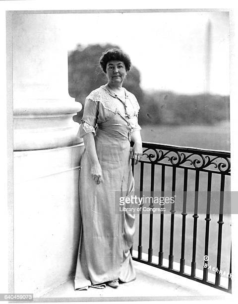 First Lady Ellen Louise Wilson on White House Porch