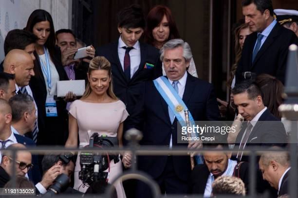 First Lady Fabiola Yañez and Argentina Presidentelect Alberto Fernandez leave the National Congress on December 10 2019 in Buenos Aires Argentina