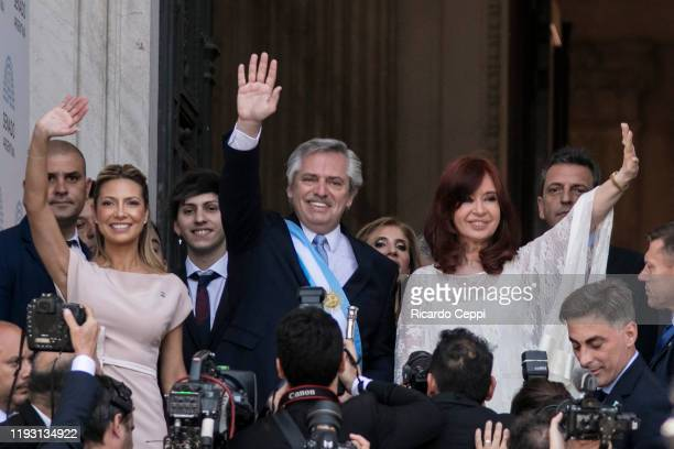 First Lady Fabiola Yañez, Argentina President-elect Alberto Fernandez and Argentina Vice President-elect Cristina Fernandez greet the crowd after the...