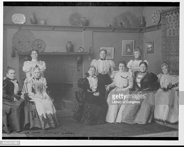 First Lady Frances Folsom Cleveland has her portrait taken with the ladies of the cabinet